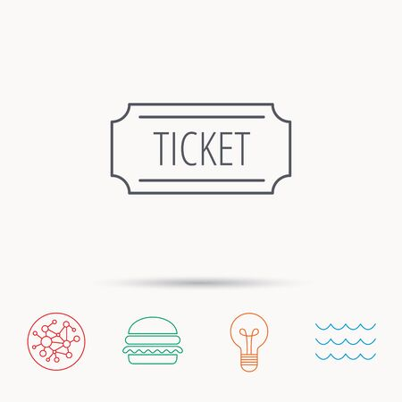 coupon sign: Ticket icon. Coupon sign. Global connect network, ocean wave and burger icons. Lightbulb lamp symbol. Illustration