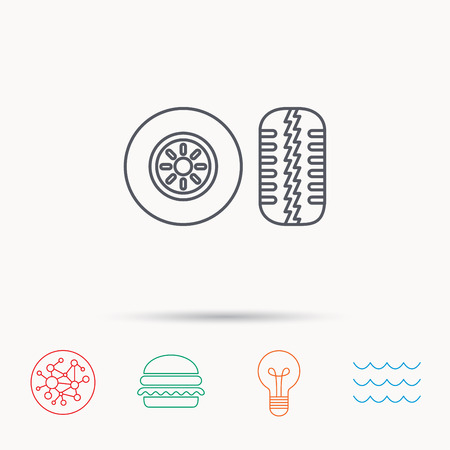 tread: Tire tread icon. Car wheel sign. Global connect network, ocean wave and burger icons. Lightbulb lamp symbol.