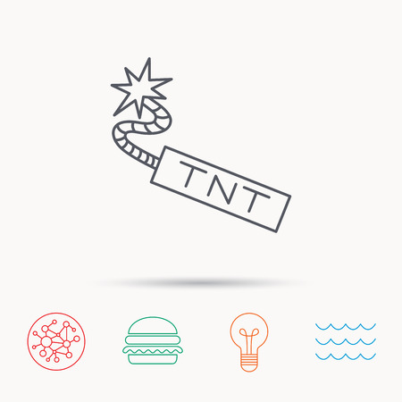 mine lamp: TNT dynamite icon. Bomb explosion sign. Global connect network, ocean wave and burger icons. Lightbulb lamp symbol.