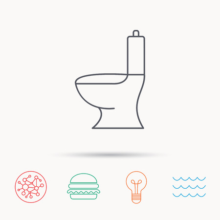 wc sign: Toilet icon. Public WC sign. Global connect network, ocean wave and burger icons. Lightbulb lamp symbol.