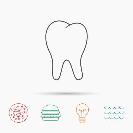 stomatology: Tooth icon. Stomatology sign. Dental care symbol. Global connect network, ocean wave and burger icons. Lightbulb lamp symbol.