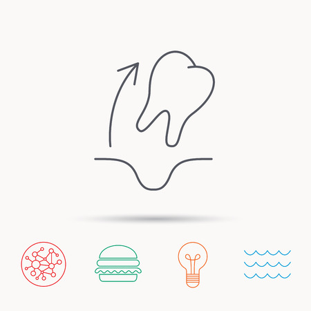 paradontosis: Tooth extraction icon. Dental paradontosis sign. Global connect network, ocean wave and burger icons. Lightbulb lamp symbol.