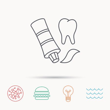 global health: Toothpaste icon. Teeth health care sign. Global connect network, ocean wave and burger icons. Lightbulb lamp symbol. Illustration