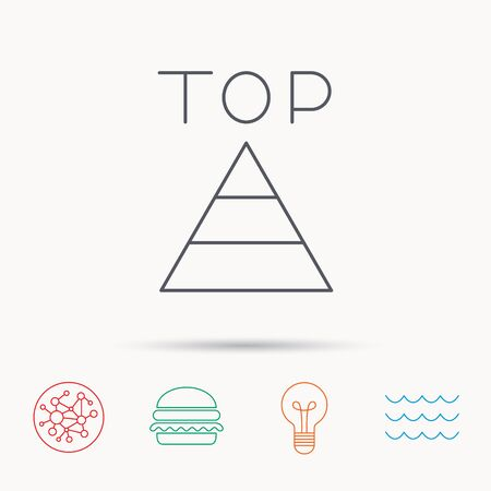 best result: Triangle icon. Top or best result sign. Success symbol. Global connect network, ocean wave and burger icons. Lightbulb lamp symbol.