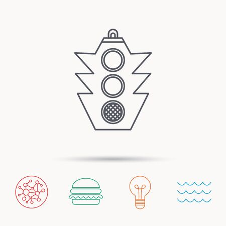 regulate: Traffic light icon. Safety direction regulate sign. Global connect network, ocean wave and burger icons. Lightbulb lamp symbol.