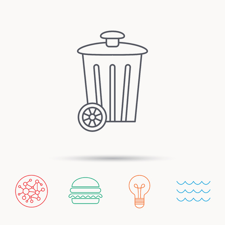 trash container: Recycle bin icon. Trash container sign. Street rubbish symbol. Global connect network, ocean wave and burger icons. Lightbulb lamp symbol.