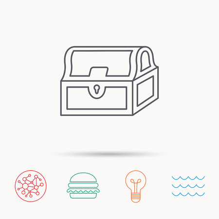 treasury: Treasure chest icon. Piratic treasury sign. Wealth symbol. Global connect network, ocean wave and burger icons. Lightbulb lamp symbol.