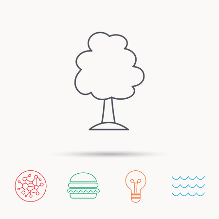 coma: Tree icon. Forest wood sign. Nature environment symbol. Global connect network, ocean wave and burger icons. Lightbulb lamp symbol. Illustration