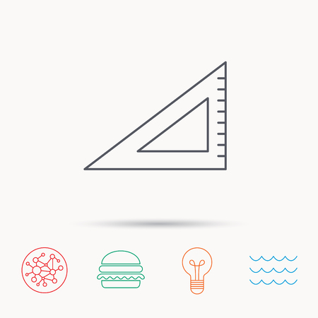 straightedge: Triangular ruler icon. Straightedge sign. Geometric symbol. Global connect network, ocean wave and burger icons. Lightbulb lamp symbol. Illustration