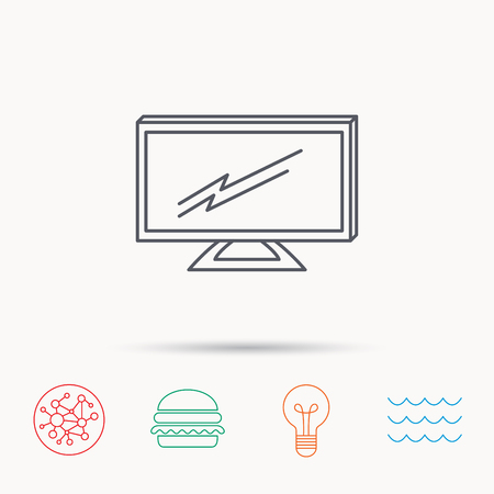 lcd display: Lcd tv icon. Led monitor sign. Widescreen display symbol. Global connect network, ocean wave and burger icons. Lightbulb lamp symbol. Illustration