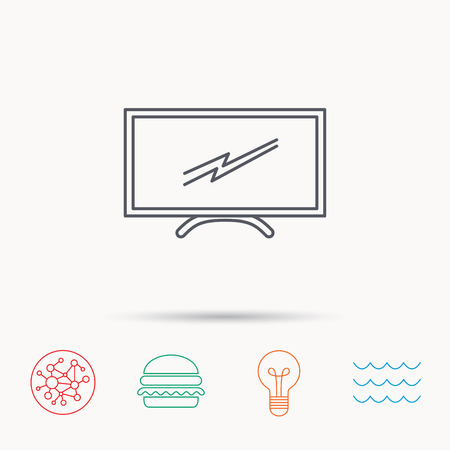 lcd tv: Lcd tv icon. Led monitor sign. Widescreen display symbol. Global connect network, ocean wave and burger icons. Lightbulb lamp symbol. Illustration