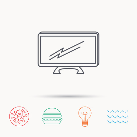 led display: Lcd tv icon. Led monitor sign. Widescreen display symbol. Global connect network, ocean wave and burger icons. Lightbulb lamp symbol. Illustration