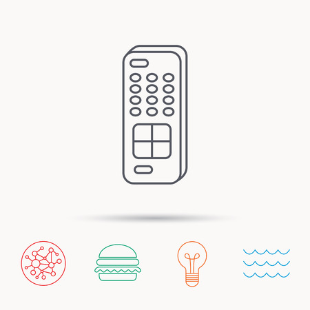 switching: Remote control icon. TV switching channels sign. Global connect network, ocean wave and burger icons. Lightbulb lamp symbol. Illustration