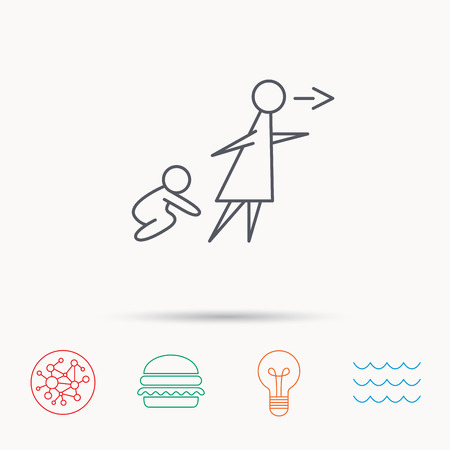 babysitting: Unattended baby icon. Babysitting care sign. Do not leave your child alone symbol. Global connect network, ocean wave and burger icons. Lightbulb lamp symbol.