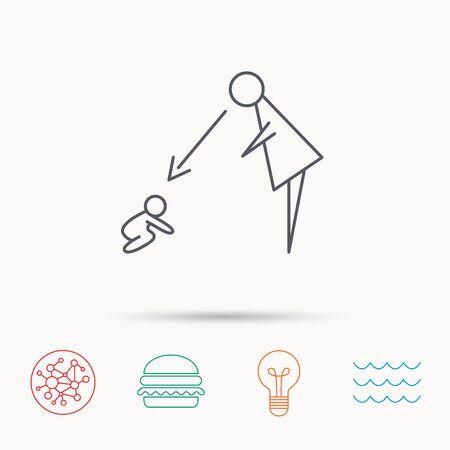 supervisión: Bajo niñera icono de supervisión. Canguro signo cuidado. Madre viendo símbolo bebé. Iconos de la red, de ondas del océano y la hamburguesa de conexión globales. Símbolo de luz de la bombilla.