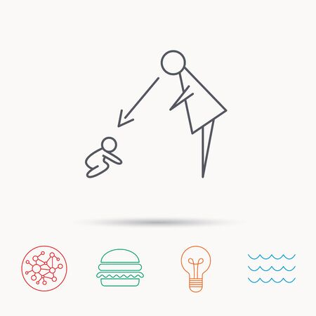 supervision: Under nanny supervision icon. Babysitting care sign. Mother watching baby symbol. Global connect network, ocean wave and burger icons. Lightbulb lamp symbol. Illustration