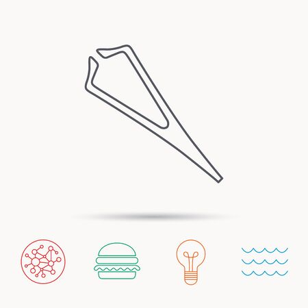 Medical tweezers icon. Cosmetic equipment sign. Global connect network, ocean wave and burger icons. Lightbulb lamp symbol. Illustration