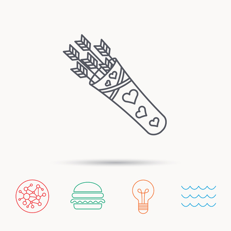 bowstring: Cupid arrows icon. Love weapon sign. Global connect network, ocean wave and burger icons. Lightbulb lamp symbol. Illustration