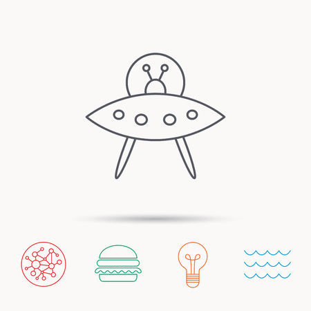 martians: UFO icon. Unknown flying object sign. Martians symbol. Global connect network, ocean wave and burger icons. Lightbulb lamp symbol.