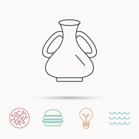 amphora: Vase icon. Decorative vintage amphora sign. Global connect network, ocean wave and burger icons. Lightbulb lamp symbol.