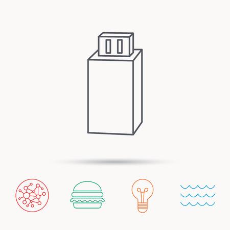 usb drive: USB drive icon. Flash stick sign. Mobile data storage symbol. Global connect network, ocean wave and burger icons. Lightbulb lamp symbol. Illustration