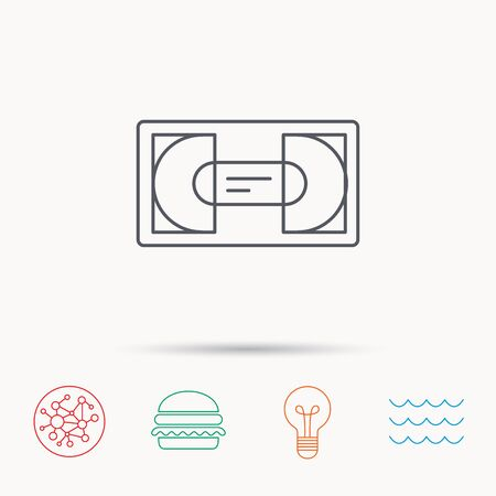 video cassette tape: Video cassette icon. VHS tape sign. Global connect network, ocean wave and burger icons. Lightbulb lamp symbol. Illustration