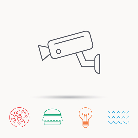sea robber: Video monitoring icon. Camera cctv sign. Global connect network, ocean wave and burger icons. Lightbulb lamp symbol.