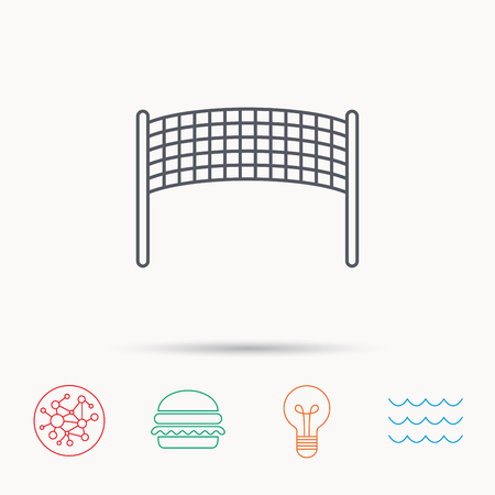 volleyball net: Volleyball net icon. Beach sport game sign. Global connect network, ocean wave and burger icons. Lightbulb lamp symbol. Illustration