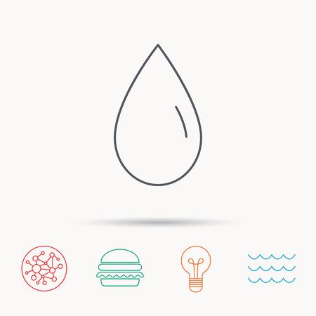 frescura: Icono de la gota de agua. Signo Líquido. Frescura, condensación o símbolo de lavado. Iconos de la red, de ondas del océano y la hamburguesa de conexión globales. Símbolo de luz de la bombilla. Vectores