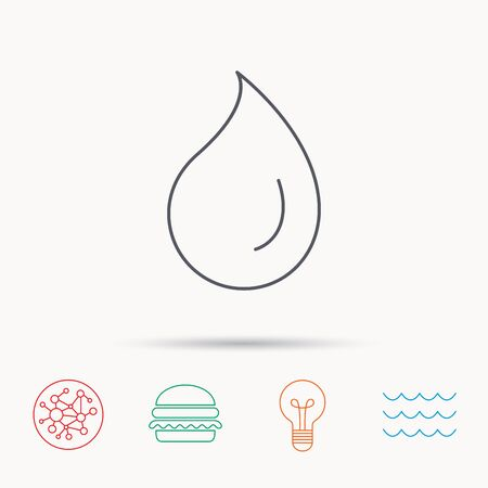 freshness: Water drop icon. Liquid sign. Freshness, condensation or washing symbol. Global connect network, ocean wave and burger icons. Lightbulb lamp symbol.