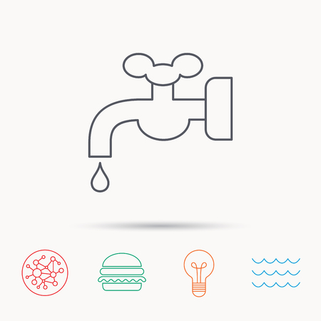 waterworks: Water supply icon. Crane or Faucet with drop sign. Global connect network, ocean wave and burger icons. Lightbulb lamp symbol. Illustration