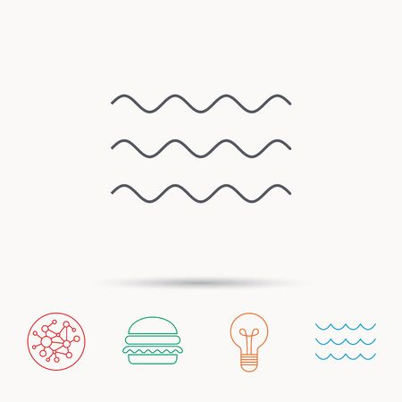 Waves Icon Sea Flowing Sign Water Symbol Global Connect Network