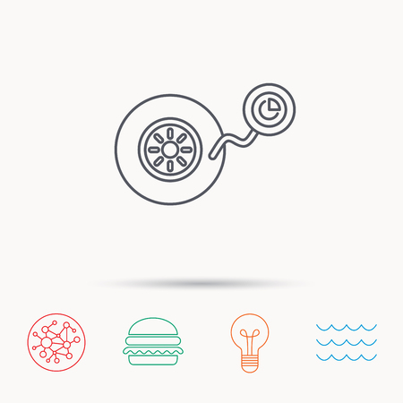 flaring: Wheel pressure icon. Tire service sign. Global connect network, ocean wave and burger icons. Lightbulb lamp symbol. Illustration
