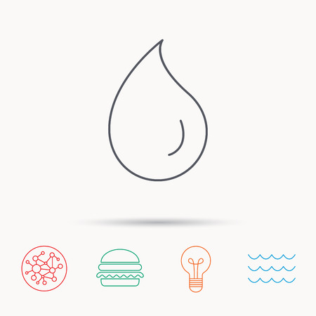 washing symbol: Water drop icon. Liquid sign. Freshness, condensation or washing symbol. Global connect network, ocean wave and burger icons. Lightbulb lamp symbol.