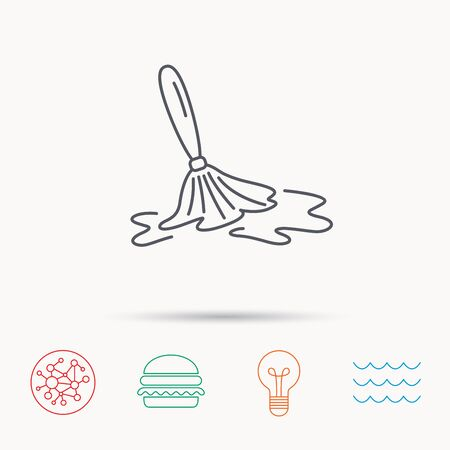 cleanup: Wet cleaning icon. Clean-up floor tool sign. Global connect network, ocean wave and burger icons. Lightbulb lamp symbol.