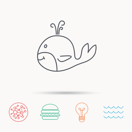 cetacea: Whale icon. Largest mammal animal sign. Baleen whale with fountain symbol. Global connect network, ocean wave and burger icons. Lightbulb lamp symbol.