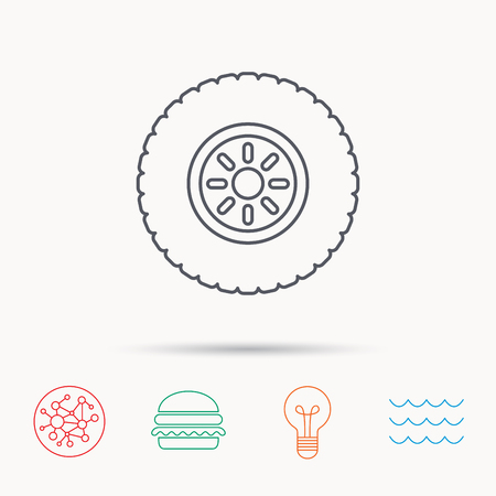 flaring: Car wheel icon. Tire service sign. Global connect network, ocean wave and burger icons. Lightbulb lamp symbol.