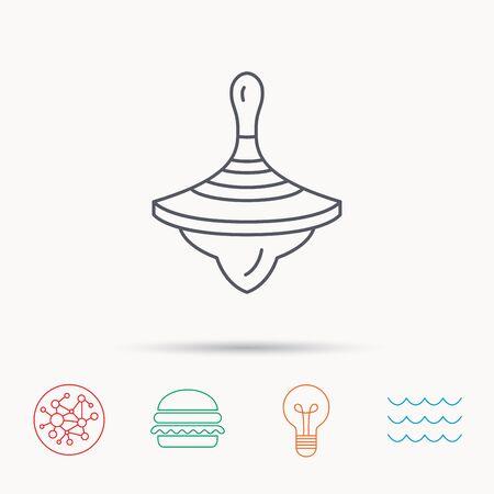 molinete: Icono de la perinola. Signo del juguete del beb�. Peonza s�mbolo. Iconos de la red, de ondas del oc�ano y la hamburguesa de conexi�n globales. S�mbolo de luz de la bombilla.