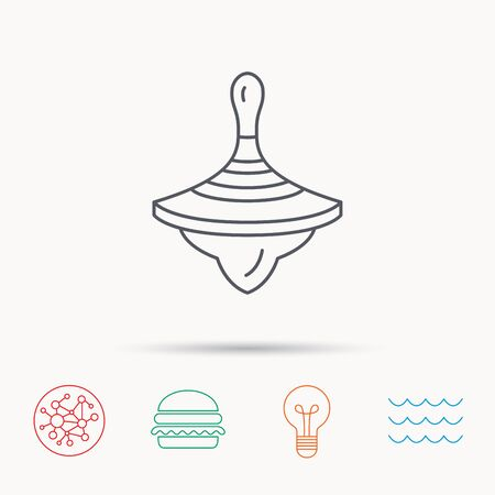 spinning top: Whirligig icon. Baby toy sign. Spinning top symbol. Global connect network, ocean wave and burger icons. Lightbulb lamp symbol.