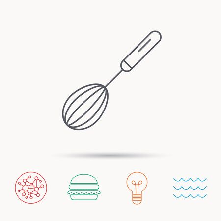 whisking: Whisk icon. Kitchen tool sign. Kitchenware whisking beater symbol. Global connect network, ocean wave and burger icons. Lightbulb lamp symbol. Illustration