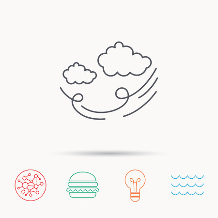the tempest: Wind icon. Cloud with storm sign. Strong wind or tempest symbol. Global connect network, ocean wave and burger icons. Lightbulb lamp symbol.