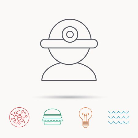 industrialist: Worker icon. Engineering helmet sign. Global connect network, ocean wave and burger icons. Lightbulb lamp symbol.