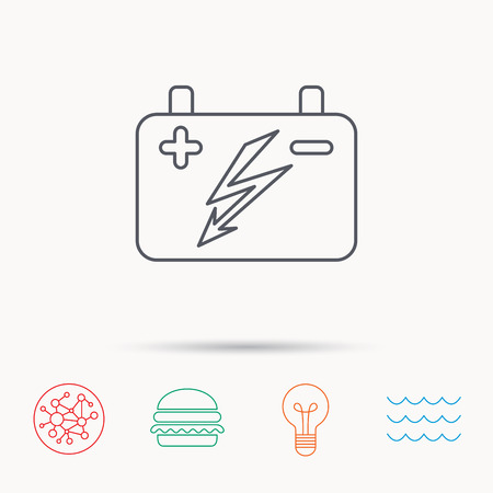 emitter: Accumulator icon. Electrical battery sign. Global connect network, ocean wave and burger icons. Lightbulb lamp symbol.