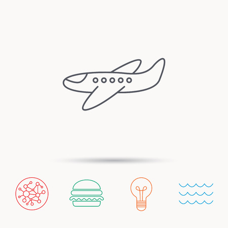 aircraft take off: Airplane icon. Aircraft travel sign. Flight transport symbol. Global connect network, ocean wave and burger icons. Lightbulb lamp symbol.