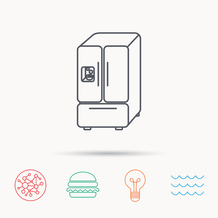 fridge lamp: American fridge icon. Refrigerator with ice sign. Global connect network, ocean wave and burger icons. Lightbulb lamp symbol. Illustration