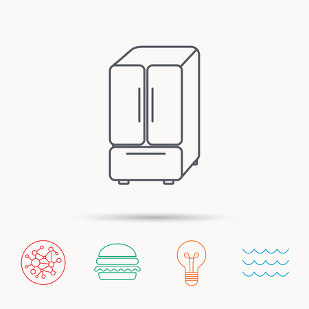 fridge lamp: American fridge icon. Refrigerator sign. Global connect network, ocean wave and burger icons. Lightbulb lamp symbol.