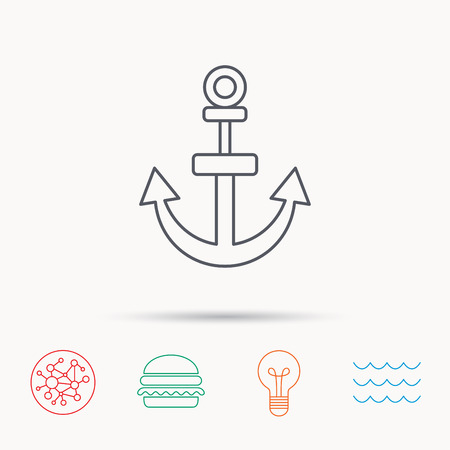 navy pier: Anchor icon. Nautical drogue sign. Sea and sailing symbol. Global connect network, ocean wave and burger icons. Lightbulb lamp symbol. Illustration