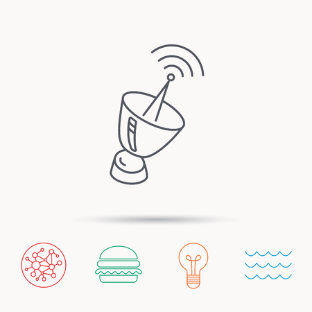 sputnik: Antenna icon. Sputnik satellite sign. Radio signal symbol. Global connect network, ocean wave and burger icons. Lightbulb lamp symbol.