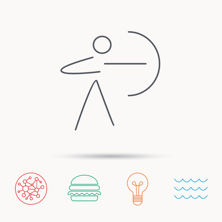 bowman: Archery sport icon. Archer with longbow sign. Aiming or targeting symbol. Global connect network, ocean wave and burger icons. Lightbulb lamp symbol.