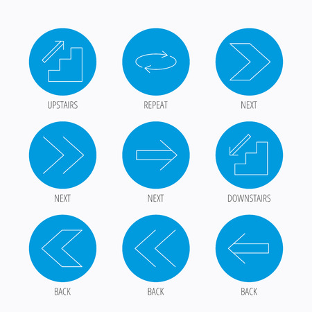 downstairs: Arrows icons. Upstairs, downstairs and repeat linear signs. Next, back arrows flat line icons. Blue circle buttons set. Linear icons.